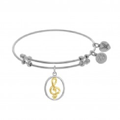 Angelica White Brass Bracelet w Yellow G Clef