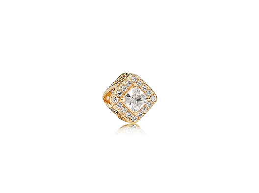 Pandora Charm  Geometric Radiance with 14k yellow gold and clear cubic zirconia