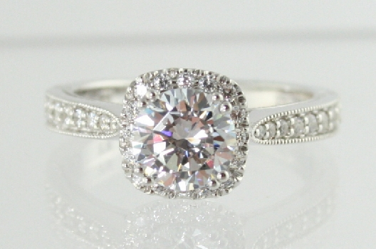 Romance Engagement Ring  SAMPLEside diamonds  32ctwCZ center shows 100ctavailable in 18K YW and other center stone sizes price does not include center diamondfits band 6700614