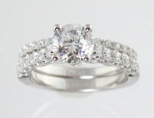Romance Engagement Ring  SAMPLEside diamonds  37ctwCZ center 100ct available in yellow or white gold and other center stone sizes Price does not include center stone  fits band 6700618
