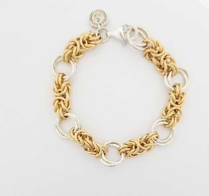 Gallery Gemma Chain Maille Collection  Yellow Gold Byzantine & Silv...