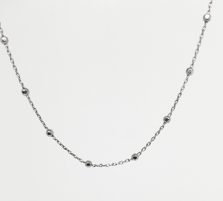 Gallery Gemma Classics  Black Beaded Station Chain Necklace  925 St...