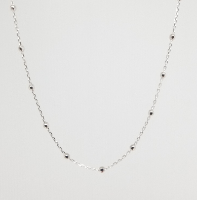 Gallery Gemma Classics  Silver Beaded Station Chain Necklace  925 S...