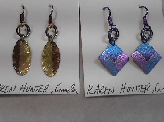 Karen Hunter: Designer  Niobium Small Dangly O Ring Earrings  Handc...