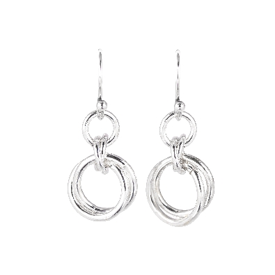 Gallery Gemma Chain Maille Collection  Silver Double Ring Dangle Ea...