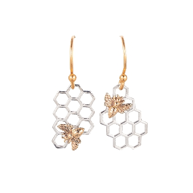 Nina Designs  Sterling Silver Honeycomb Dangle Earrings with Bronze...