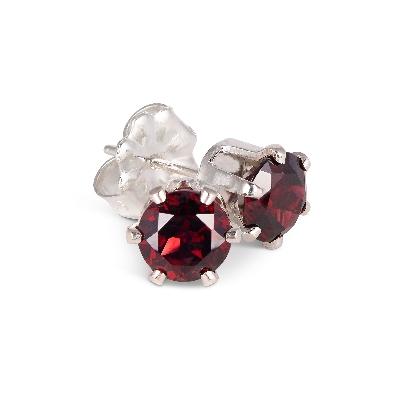 Gallery Gemma Gemstone Collection  Garnet Sterling Silver Stud Earr...