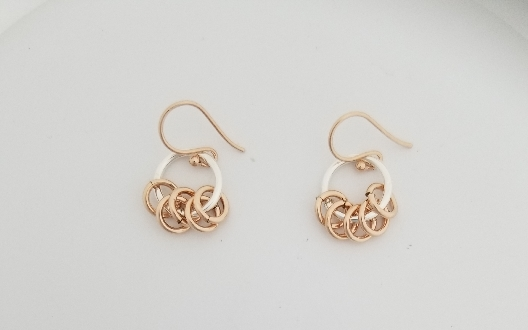 Gallery Gemma Chain Maille Collection  Silver & Rose Gold Dangle Ea...