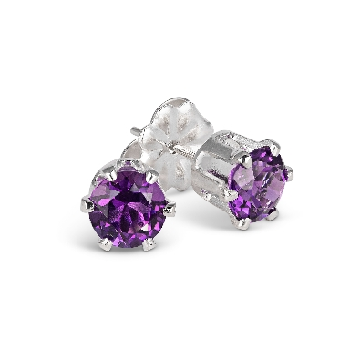 Gallery Gemma Gemstone Collection  Amethyst Stud Earrings   Genuine...
