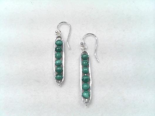 Artist Anne-Marie Warburton  Malachite Bead Drop Earrings  925 Ster...