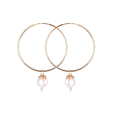 Gallery Gemma  Pearl Dangle Hoop Earrings  14k gold filled hoops wi...