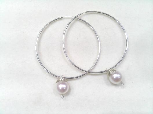 Gallery Gemma  Pearl Dangle Hoop Earrings  Sterlling silver hoops w...