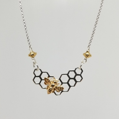 Nina Designs  Sterling Silver Honeycomb Festoon with Bronze Bee Nec...