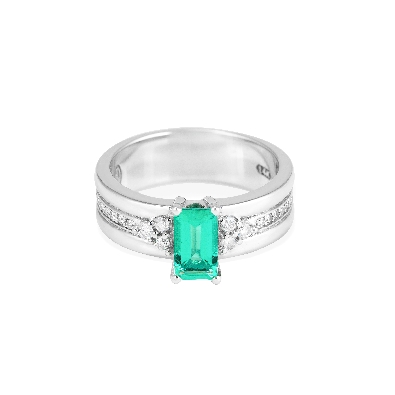 Artist:  Anne-Marie Warburton  Emerald and Diamond Ring  One of a k...