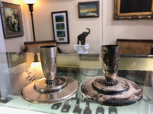 Randahl sterling silver candle holders
