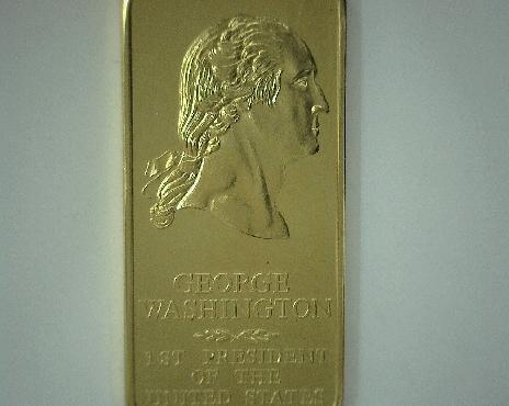 24k gold plated Danbury Mint 1 ounce bronze Presidential ingot