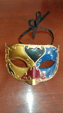 Gold Tone with Red; Blue; and Green Masquerade Mask