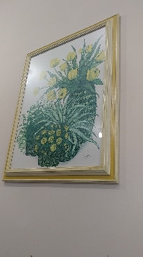 Yellow Frame Still Life Floral Painting with Green Accents