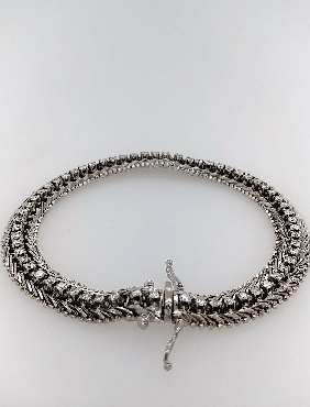 14K White Gold Diamond Line Bracelet with Mid-Century Weave Link 8   Bracelet Contains 62 RBC Diamonds; measuring approximately 0.20 mm Approximately 2.0CTTW G-H/VS