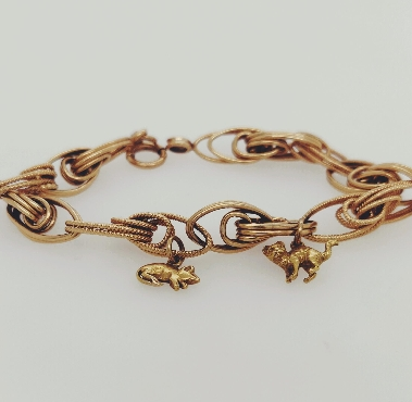 14K Yellow Gold Link Bracelet with Cat and Mouse Charm 7.5 inches