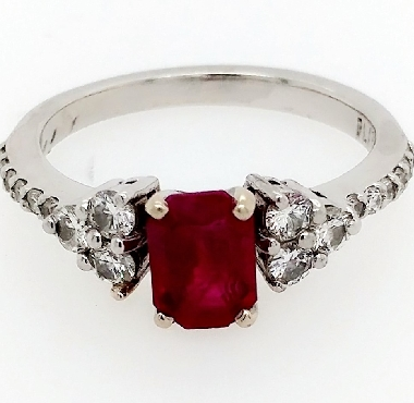 Ruby Ring in Platinum 1.05CT Emerald Cut Ruby 18 RBC diamonds about .4CTTW