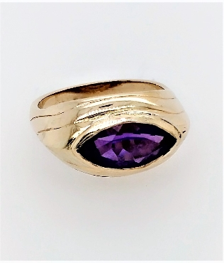 14k yellow gold amethyst ring size 6.25