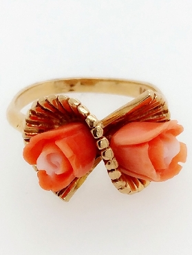 14k yellow gold carved coral rose bypass ring  size 6