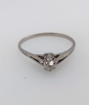 14k white gold ring antique engagement ring with six prong set Peruzzi cut diamond. Diamond is approx 0.34 carat I1/I. Size 8.5.