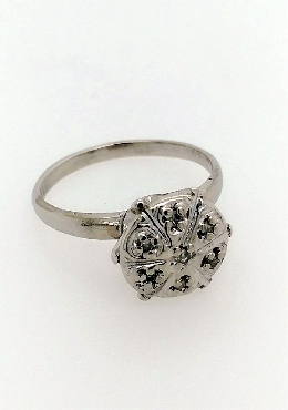 10kt white gold flower style diamond cluster ring. 7 round bead set diamonds approx 0.07 carat total weight I3/J-K. Size 5.75.