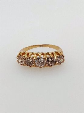 Antique14kt yellow gold five-diamond band with approx 1 2/3ctw old mine cut dias Si1-I1/J-K. Size 5.25.