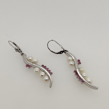 14K White Gold Pearl and Ruby Drop Earrings with Lever Backs