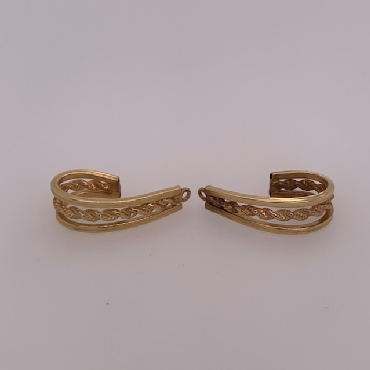 14k Yellow Gold J Shaped Earing Jacket with Rope Detail