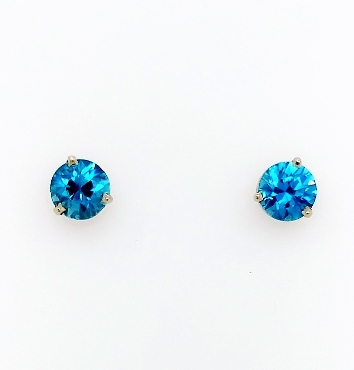 14kt white gold post earrings with 2.15ct blue zircon 4.3ct tzw.