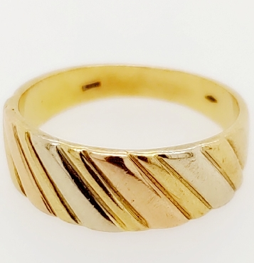 14K Yellow Gold Band with White and Rose Gold Stripes Size 9
