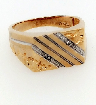 10K Yellow Gold Men s Nugget Style Band with Lined Diamond Accents Size 10