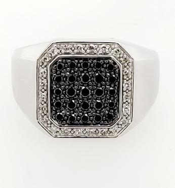 10K White Gold Men s Square Shaped Black and White Diamond Ring Size 10.5