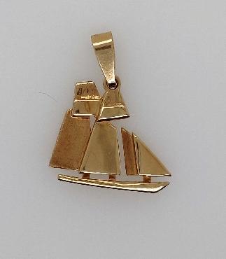 14K Yellow Gold Sailboat Pendant