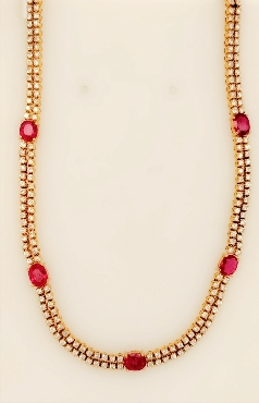 18K Yellow Gold Diamond and Oval Cut Ruby Necklace 14   with 6.64CT Diamonds and 2.76CT Rubies