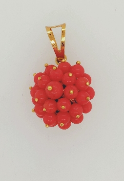 18K Yellow Gold Coral Cluster Pendant