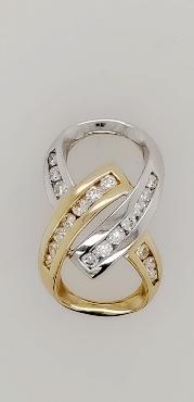 14K Two Tone Gold and Diamond Ribbon Slide Pendant  1/3 CTTW