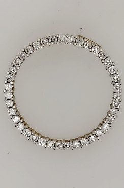 14K Two Tone Gold Diamond Circle Pendant 1 CTTW H/SI1