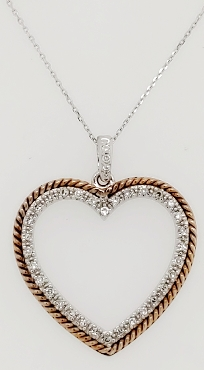 14K Two Tone Gold Diamond Heart Necklace 16