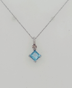 10K WG Blue Topaz Pendant with Diamond Accent 18 inch Twisted Cable Chain