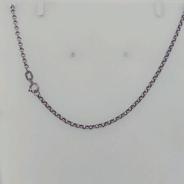 18K White Gold Rolo Chain 20