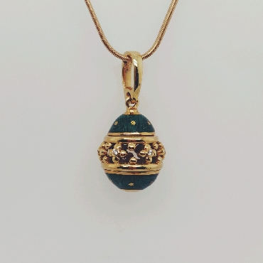 18K Yellow Gold Faberge Inspired Pendant with Green Enamel and Diamond Accents on a 16 inch Snake Chain