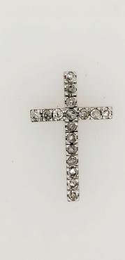 10K White Gold Diamond Cross Pendant 1/2 Inch Long 1/4 Inch Wide .5 CTTW