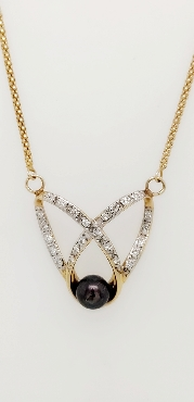 14K Yellow Gold 19 Inch Popcorn Chain with Stationary Criss Cross Diamond and Pearl Pendant