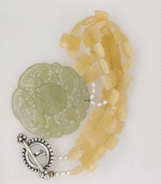 Green Carved Jade Pendant with Faceted Yellow Jade and Pearls and Sterling Silver Toggle Clasp