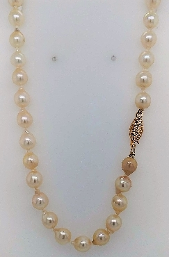Vintage 18.5   salt water pearl necklace with 14k yellow gold clasp.