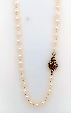 19   salt water pearls with 14k clasp